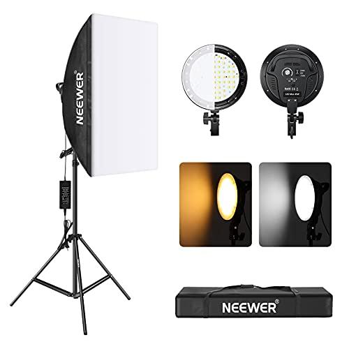 Neewer - Kit de iluminación de caja de luz LED de 45 W, incluye cabezal de luz LED regulable de temperatura de 2 colores 2700K / 5500K...