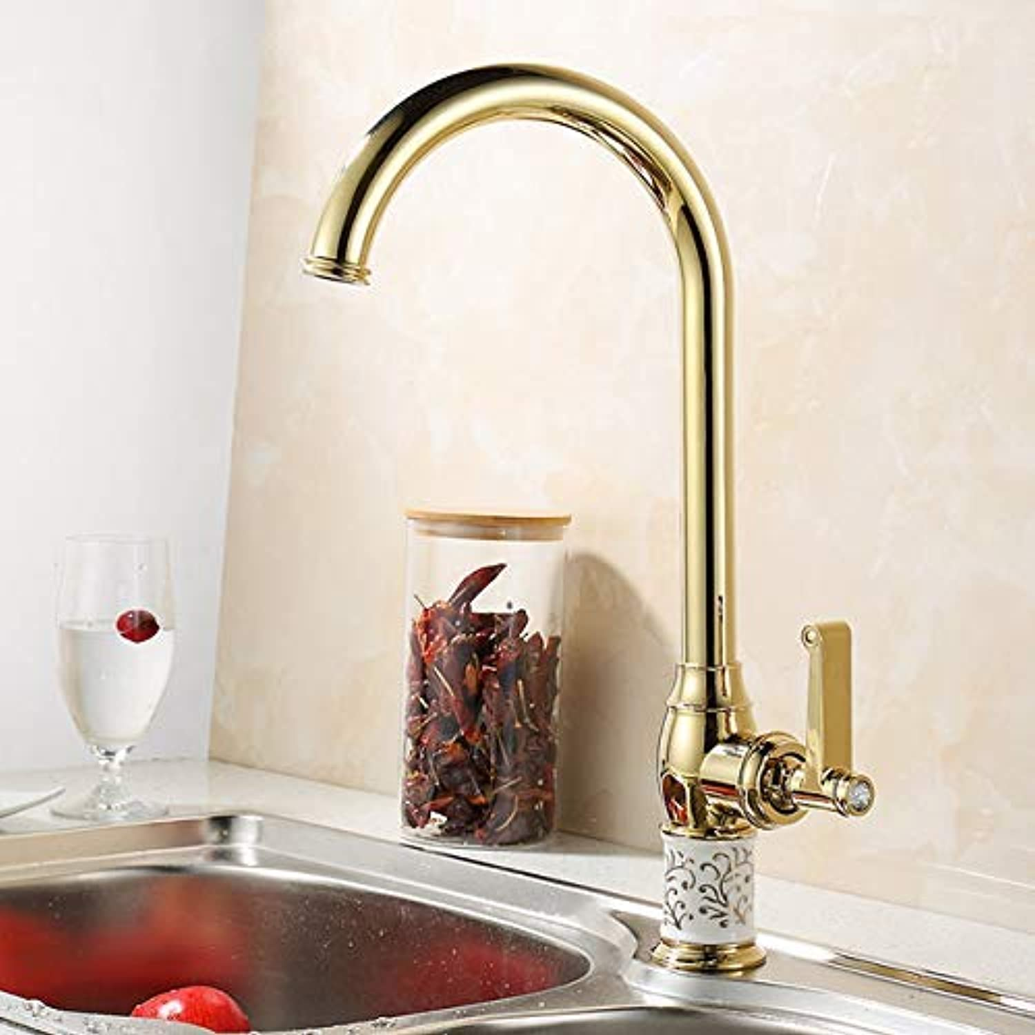 Oudan Kitchen Faucets gold Copper for Cold and Hot Water Tap Sink Faucet Swivel 360 Degree Water Mixer Tap Brass Kitchen Faucet SE-M08 (color   -, Size   -)