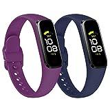KIMILAR [2Pack Correa Compatible con Samsung Galaxy Fit 2,Correa de Silicona Banda de la Muñeca Pulseras de Repuesto Compatible con Samsung Galaxy Fit 2 Smartwatch -Ciruela/Azul Marino