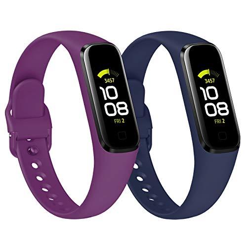 KIMILAR 2 Stücke Armband Kompatibel mit Samsung Galaxy Fit 2 Armbänder Silikon, Sanft Sport Ersatzband Uhrenarmband Kompatibel mit Galaxy Fit2 SM-R220 Smartwatch -Pflaume/Marineblau