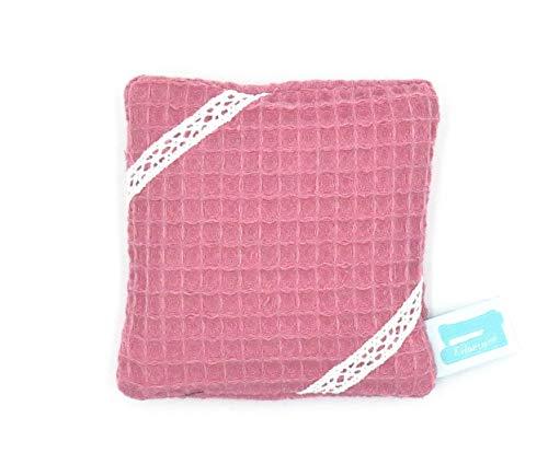 Taschenwärmer wiederverwendbar, 10cm x 10cm, Wärmekissen Mikrowelle, Kühlpack, Waffelpiqué Rosa mit Borte