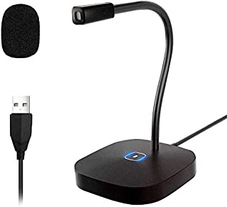XIAOKOA PC Microphone for Computer,Desk Microphone with LED Touch and USB Microphone for Windows/Mac for Youtube, MSN, Fac...