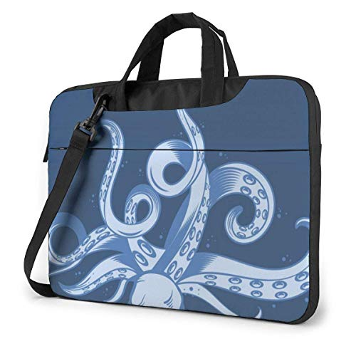 15.6 inch Laptop Shoulder Briefcase Messenger Underwater Animals Cartoon Octopus Tentacle Tablet Bussiness Carrying Handbag Case Sleeve