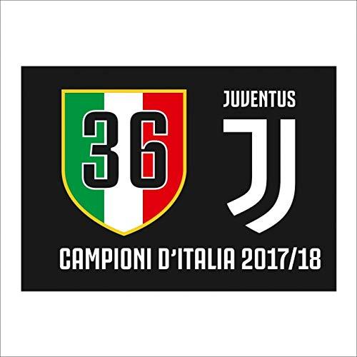 PRODOTTO UFFICIALE Fahne Juventus Turin 36 Scudetto 100x140 cm JJ Proben Italiens 2017/18 - One Size, Schwarz