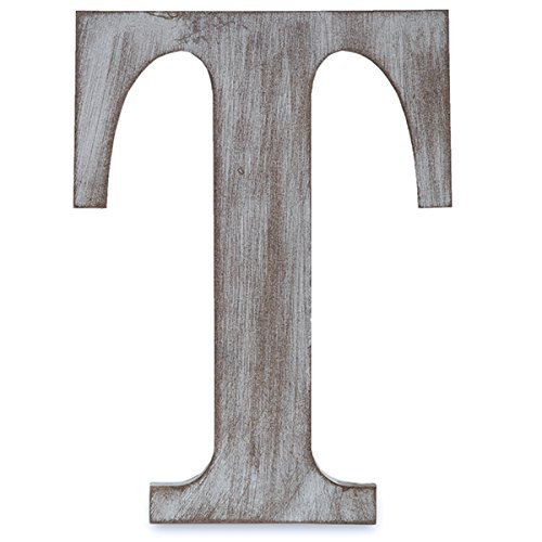 "The Lucky Clover Trading T Wood Block, 24"" L, Charcoal Grey Wall Letter, Gray"
