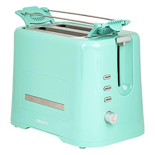 ONVAYA® Toaster mit Brötchenaufsatz | für zwei Toastscheiben | mint | Toaster mit Krümelschublade in modernem Design