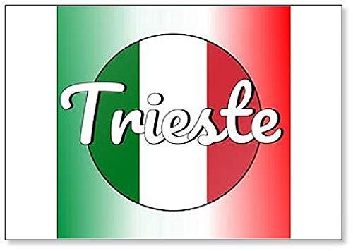 Kühlschrankmagnet, Motiv: Nationalflagge Italiens & Aufschrift Stadt: Trieste
