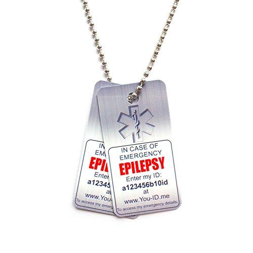 Epilepsy Medical Alert Tag Ketting Emergency Identity ICE SOS voor Epileptica PVC ID Hond Tags met Gratis voor het Leven U ID Me Goud Plan SMS Mijn contacten Optie Ook Beschikbaar