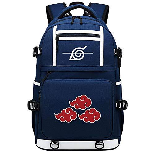 ZZGOO-LL White Sharingan pattern Uzumaki Naruto Uchiha Itachi/Pain Zaino per laptop anime Borsa da viaggio per laptop Daypacks Borsa leggera con USB Blue-F