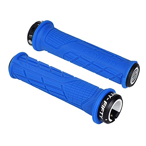 FIFTY-FIFTY Single Lock-on Mountain Bike Grips, Bicycle Handlebar Locking Grips, Non-Slip MTB Handle Grips (Blue)