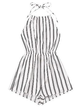 SheIn Women s Sleeveless Floral Print Halter Neck Backless Short Romper Jumpsuit White Stripes Large