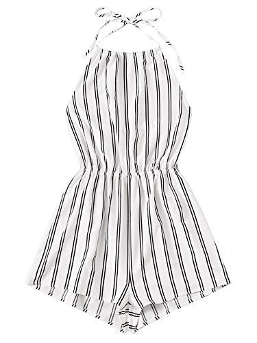 SheIn Women's Sleeveless Floral Print Halter Neck Backless Short Romper Jumpsuit White Stripes Large