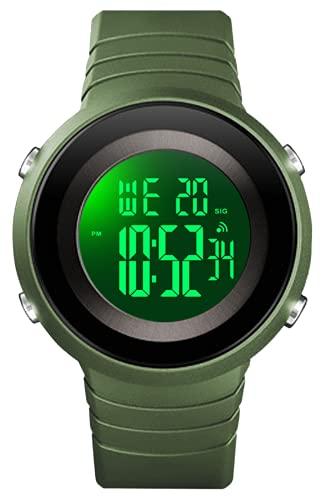 Reloj Hombre Digital, Exteriores Relojes Deportivos para Hombres, 50M Impermeable Relojes de Pulsera de Grande con LED/Alarma/Temporizador/Cronómetro Verde