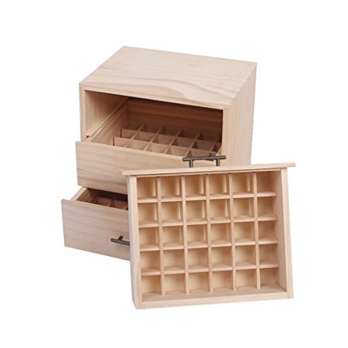 YNLRY DREI Schublade Ätherisches Öl Holzkiste Ätherisches Öl Lagerung Massivholz-Box High-End-Verpackung Box Holzkiste (Color : BEIGE, Size : 24.5 * 20 * 26CM)