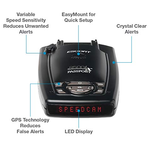 Escort Passport 9500iX - Long Range, Fewer False Alerts, National Coverage, GPS Capable, Ticket Protection