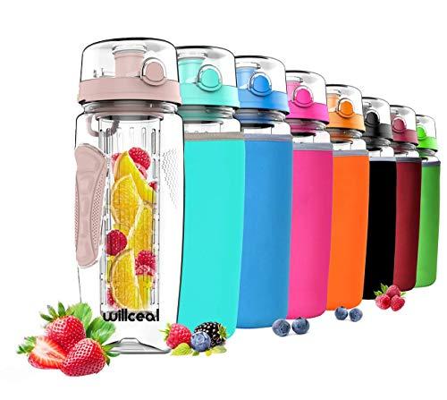 willceal Bouteille d'eau avec infuseur à Fruits 0,95 l Fabriquée en Tritan sans BPA, Couvercle à Rabat, Anti-Fuite Convient pour Le Sports et Le Camping (Or Rose)