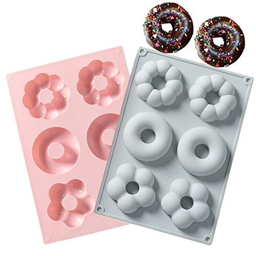 2 PCS Silicone Donut Molds for Baking, 100% Nonstick Donut Pans, Donut Mold for Donuts, Bagels and More ( Small )