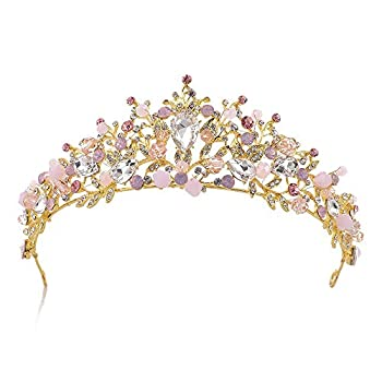 Sunshinesmile Bride Pink Crystal Crowns and Tiaras Headband for Girl or Women Birthday Party Wedding Prom Bridal