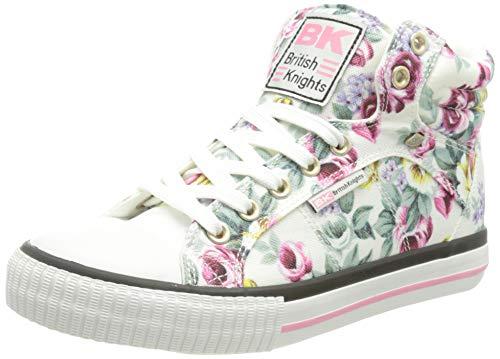 British Knights DEE, Zapatillas Mujer, Color Blanco con Flores, 38 EU