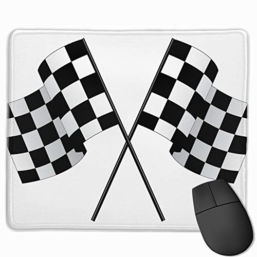 HBLSHISHUAIGE Mouse Pad Checkered Flags Race Car Flag Rectangle Non-Slip 9.8in11.8 in Personalized Designs Gaming Rubber Mousepad Stitched Edges Mouse Mat