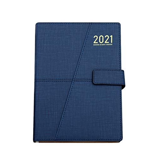 GuaziV Planner 2021-2022 Daily & Weekly & Monthly Life Planner to Increase Productivity, 5.8' X 8.5' A5 Premium Thicker Paper with Pen Holder, Day Business Work Planners for Men Women (Blue)