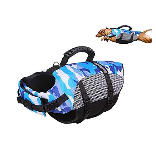 YDSZ Perro Salvavidas Chaleco Chaleco Sirena Seguridad Traje de baño preserva Ajustable buoyancia Durable Perros Mascotas Ripstop cinturón Blue-L