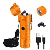 Waterproof Lighter, JiaDa Electric Lighter Flashlight USB Rechargeable Arc Lighter, Portable Handheld,IPX7 Water-Resistant for Outdoor Camping - 2 in 1 (Orange)