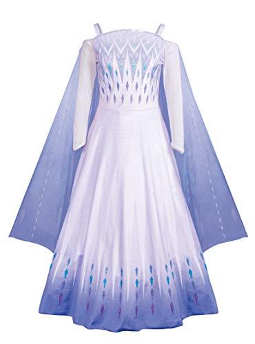 Disguise Women's Disney Frozen 2 Elsa Prestige Adult Costume, White & Blue, Medium (8-10)