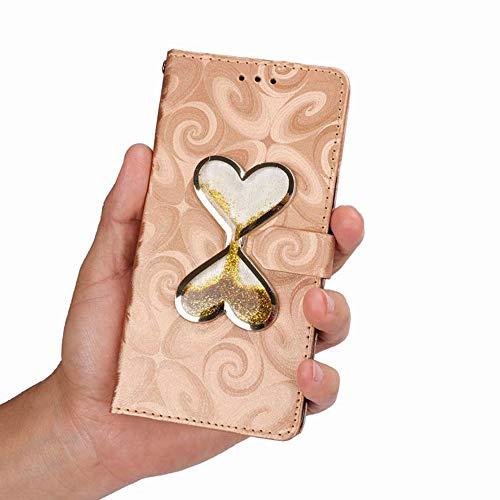 ゼンフォン 5Z ケース 対応 愛の形 手帳型 衝撃 財布型 スタンド カード入れ 横置き機能 ぜんふぉんZ 5/ZS620klカバー 愛の形 おしゃれ ASUS ZenFone 5Z スマホケース 対応 6.2 インチ 2018 (ゴールド)