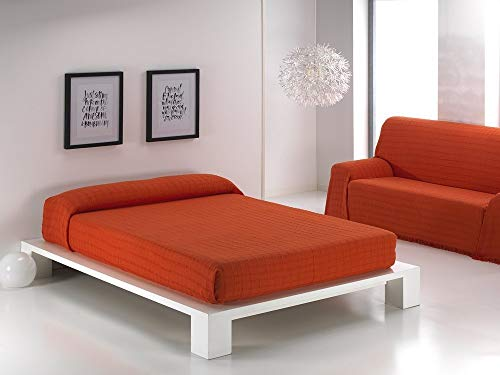 BENEDETTAHOME Colcha Foulard Multiusos Mariola para sofá y para Cama, Algodón-Poliéster 180x260cm. Naranja.