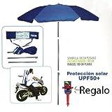 Pincho Sombrilla Mochila Plegable 180CM Ideal para Moto y Bicicleta (Azul)
