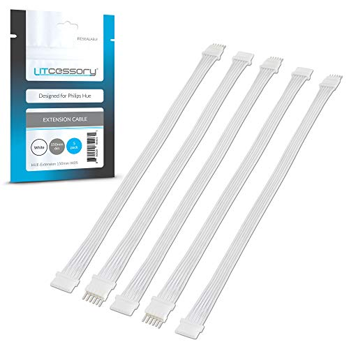 Litcessory Cable de Extensión para Philips Hue Lightstrip Plus (150mm, Paquete de 5, Blanco)