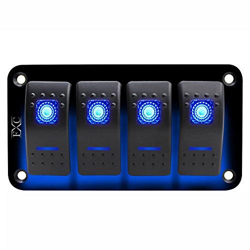 Pestelle 12V / 24V 4 Grupos Azul 2 LED luz Disyuntor de Circuito de Panel del Interruptor basculante Barco Marino Impermeable