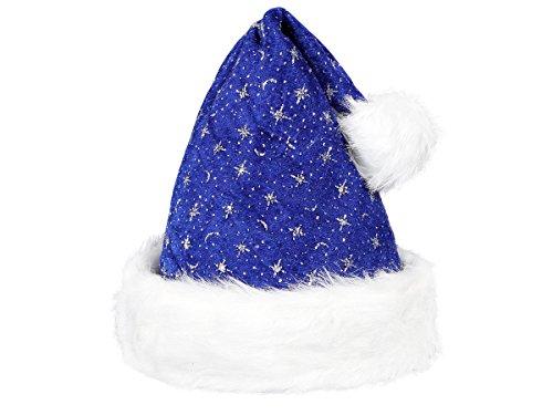 Alsino Weihnachtsmütze Santa Hat Erwachsene Nikolausmützen Weihnachtsmann Mützen kuschelweich mit Bommel, Blau Glitzer