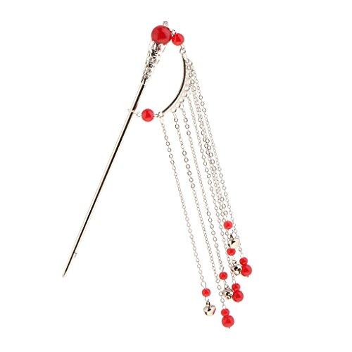 Prettyia Elegante Horquilla Kanzashi Tassel Chignon para Kimono Hanfu Cosplay Pin - Rojo