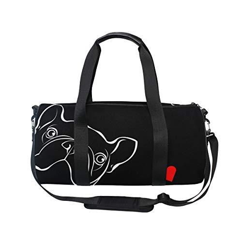MNSRUU Große Reisetasche mit französischer Bulldogge, Unisex, hohe Kapazität, für Sport, Turnhalle, Schwarz