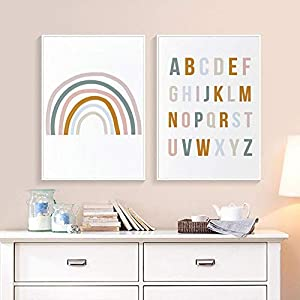 DNJKSA Rainbow Nursery Decor ABC Alphabet Poster Wall Art Canvas Painting Print Pictures New Baby Girls Gift Kids Room Home Decor/30x40cmx2Pcs-No Frame