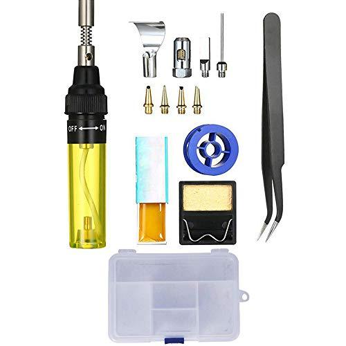 Soldador de gas Tipo de pluma Soldadura de gas 3 en 1 Soldador de gas Soldador multifunción 13 PCS Set, adecuado para reparación de precisión, operaciones de soldadura electrónica (amarillo)