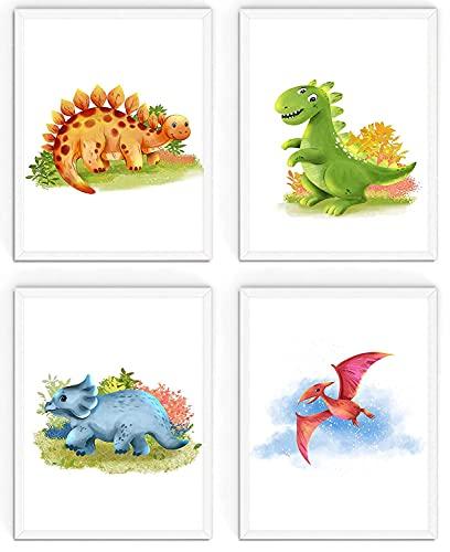 WIETRE® 4er Set Bilder Dinosaurier Kinderzimmer Babyzimmer Deko   Bild Junge Mädchen Poster DIN A4   Dinos T-Rex Tiere (mit weiße Rahmen)
