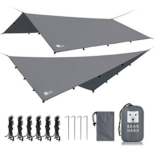 Bearhard Wasserdicht Camping Tarp Zeltplanen 3 x 3 m, Ultraleicht Multifunktionales UV Schutz Sonnensegel Zelt, ideal für Camping, Wandern, Picknick, Outdoor-Aktivitäten
