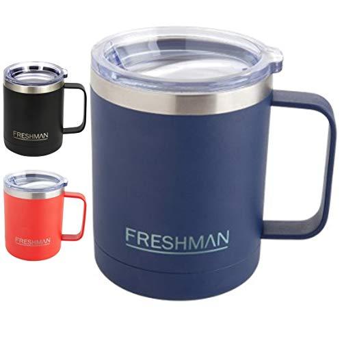 Freshman doppelwandiger Vakuum-Thermobecher | Isolierbecher | Kaffeebecher to go aus 18/8-Edelstahl mit Deckel und Griff | Coffee to go Becher mit Henkel | Mehrwegbecher 350 ml…
