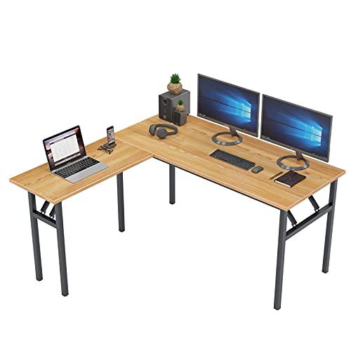 DlandHome Reversible L-Shaped Desk Large Corner Desk Folding Table Computer Desk Home Office Table Computer Workstation, Teak DND-ND11-TB