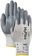 Ansell 11-800-10 Hyflex Foam Nitrile Palm Coated Knit Assembly Gloves, Nylon & Nitrile, Size 10, White & Grey (Pack of 12)