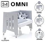 ALONDRA - Cuna bebé de COLECHO (3en1) OMNI Gris 120x60 convertible en 3 etapas: cuna, colecho y escritorio, con 5 alturas de somier y ruedas C181-M7778, pack OMNI-K10.