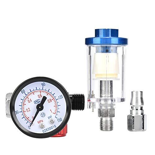 fuwinkr Pistola pulverizadora, regulador de presión de Entrada de Aire, Filtro Separador de Trampa de Aceite de Agua en línea, Duradero de 1/4 pulg. para reacabado automotriz