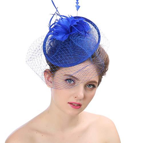 CHUTD Vrouwen meisjes veer mesh sluier, haarspeld hoed cocktail hoed bruiloft thee party hoed bruidsjurk muts haarband Ascot race hoed voor dames, blauw