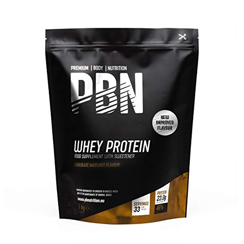 PBN Premium Body Nutrition - Proteína de suero de leche en polvo, 1 kg (Paquete de 1), sabor Chocolate con Avellanas, sabor optimizado