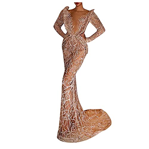 Women's Sexy V Neck Sequin Beaded Fringed Dress Long Sleeve Party Cocktail...