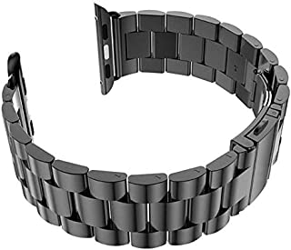 For Smart Watch 42mm - Replacement Stainless Steel Watch Band with Axel Adapters - Charcoal Black