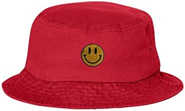 One Size Red Adult Smiley Face Embroidered Bucket Cap Dad Hat product image